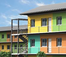 Infografía animada de viviendas prefabricadas para Angola
